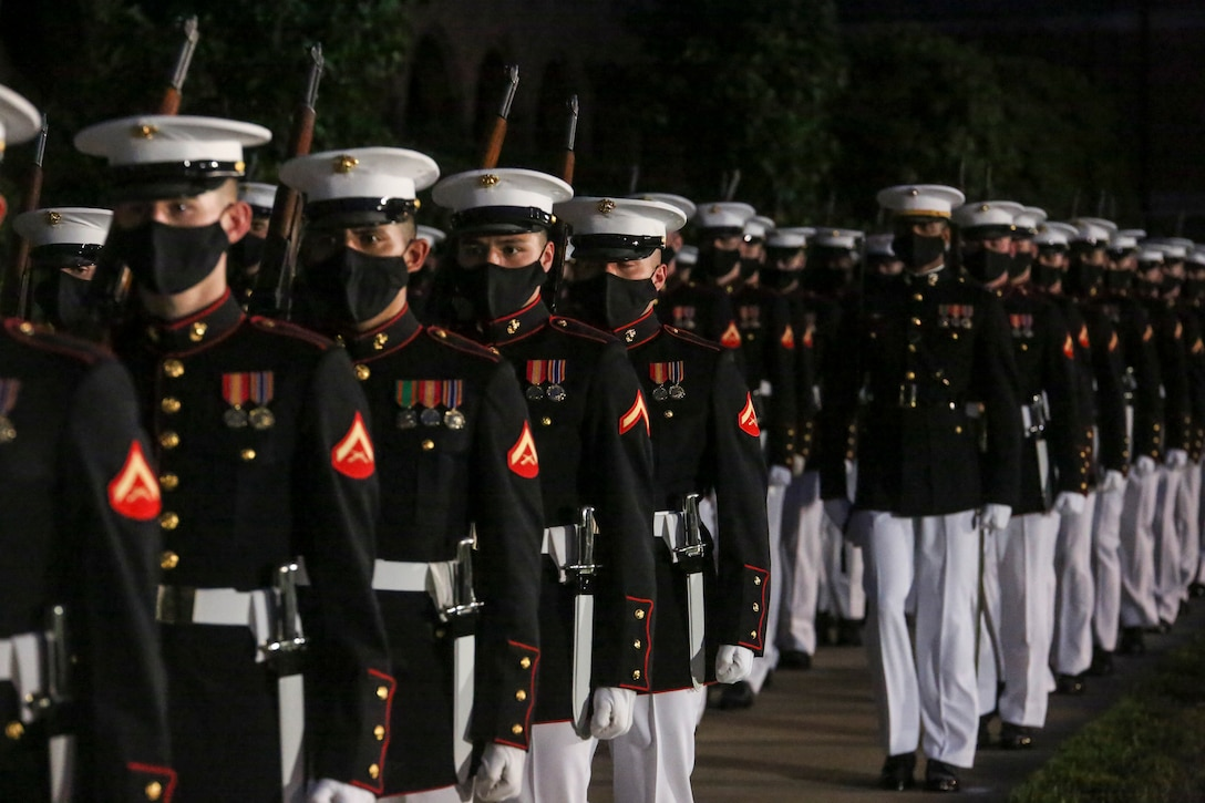 U.S. Marines conduct a full dress rehearsal in preparation for the upcoming Friday Evening Parades at the Oldest Post of the Corps, Washington, D.C., June 24, 2020.
