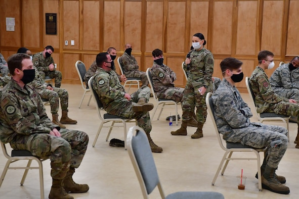 Senior Airman Kailyn Herglotz, 19th Operational Medical Readiness Squadron alcohol and drug abuse prevention and treatment program technician, teaches a class on effective communication during Wingman Day at Little Rock Air Force Base.