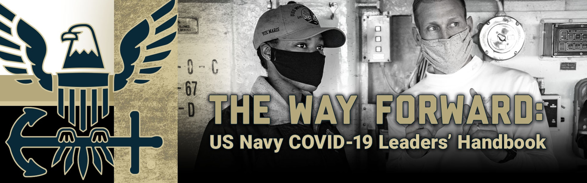 The Way Forward: US Navy Leadership COVID Handbook banner showing sailors wearing mask and navy colored blue with gold accent