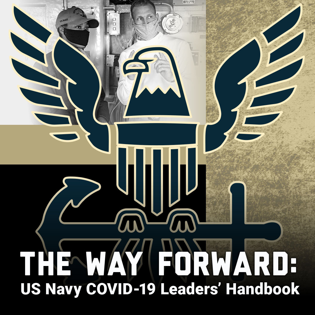 The way forward: US Navy Sailor COVID handbook thumbnail showing navy logo and picture of Sailors leaving airplane