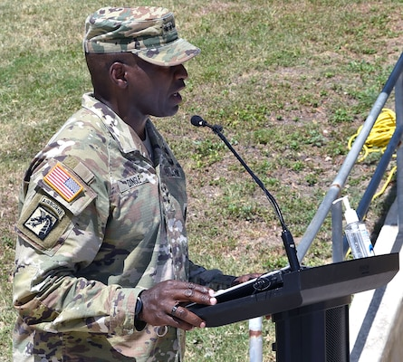 U.S. Army Surgeon General and commanding general, U.S. Army Medical Command, Lt. Gen. R. Scott Dingle, addresses the audience during his assumption of command ceremony at the AMEDD museum at Joint Base San Antonio-Fort Sam Houston June 24.