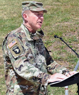 Gen. James C. McConville, Chief of Staff of the U.S. Army, addresses the audience during the assumption of command ceremony for the U.S. Army Surgeon General and commanding general, U.S. Army Medical Command at Joint Base San Antonio-Fort Sam Houston June 24.