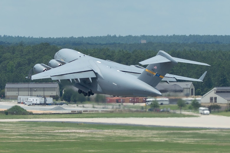 A C-17 Globemaster takes off from Pope Field, North Carolina during a training exercise earlier this month.