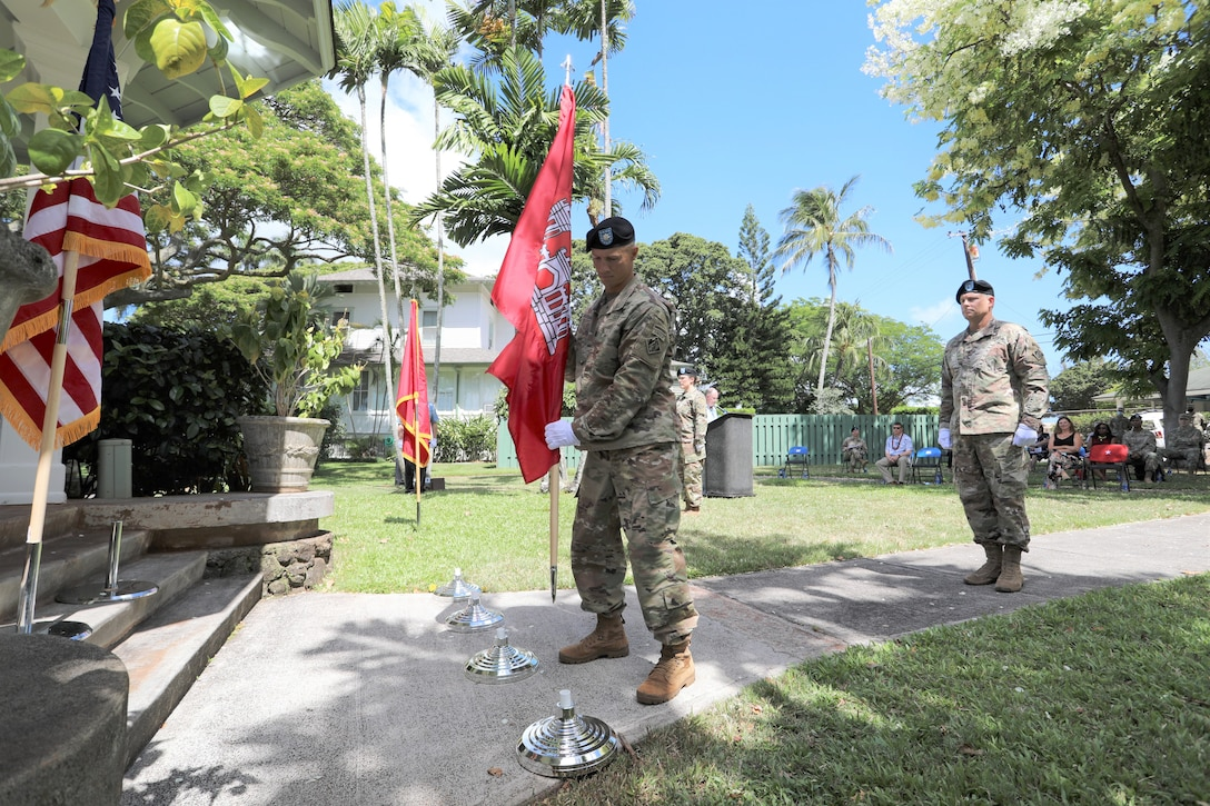 The U.S. Army Corps of Engineers Honolulu District welcomed new leadership today as Lt. Col. Eric S. Marshall (right) assumed command from Lt. Col. Kathryn P. Sanborn (center left) during a modified change of command ceremony at Fort Shafter's Palm Circle Gazebo