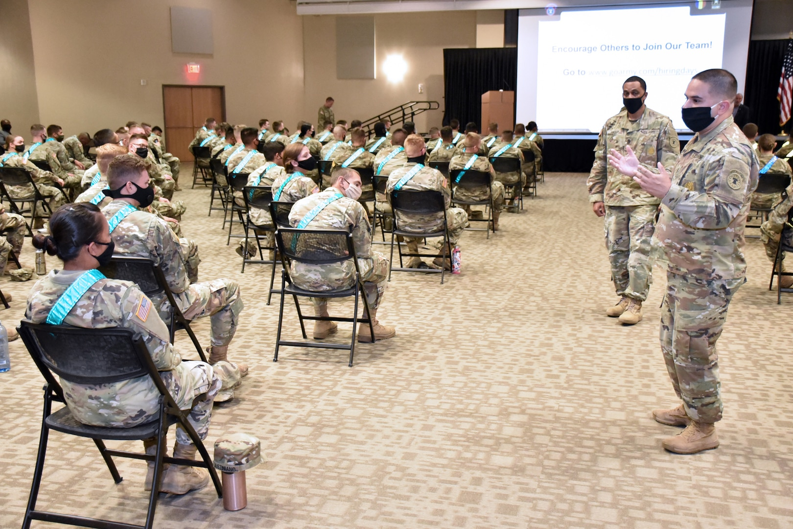 An Army recruiter answers a Soldier's question during the MEDCoE Army National Hiring Days Soldier Forum June 26 at Joint Base San Antonio-Fort Sam Houston.