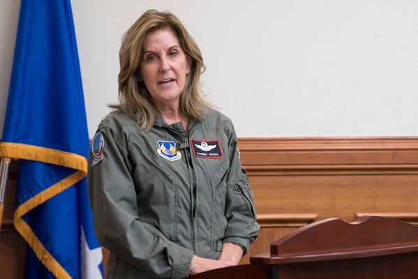 Retired U.S. Air Force Lt. Col. Connie Engel speaks about her experiences in undergraduate pilot training during the Trailblazer Room dedication ceremony June 29, 2020, at Joint Base San Antonio-Randolph, TX. Located in the AETC headquarters main building, the newly renamed Trailblazer Room was dedicated to the first 10 women who earned their silver wings Sept. 2, 1977. (U.S. Air Force photo by Sean M. Worrell)