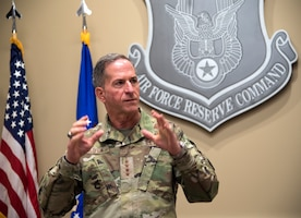 Photo of Air Force Chief of Staff Gen. David L. Goldfein speaking to members of Air Force Reserve Command during his visit to Robins Air Force Base, Georgia, June 24, 2020.