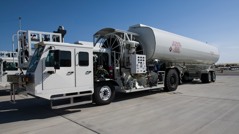 Two Large Capacity Refuel Vehicles parked at Edwards Air Force Base, California. The 412th Test Wing's 412th Logistics Readiness Squadron recently received two LCRV to test. (Air Force photo by Giancarlo Casem)
