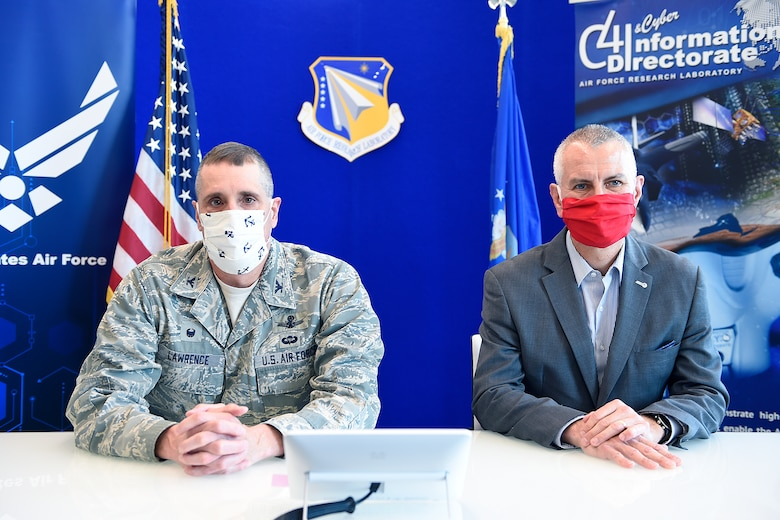 Col. Timothy Lawrence, director of AFRL's Information Directorate, and Dr. Michael Hayduk, deputy director, participate in a first-of-its-kind virtual quantum collider pitch event June 15-16, from Rome, N.Y. The Air Force Research Laboratory awarded $5.25 million to 23 small businesses during the event. (Courtesy photo)