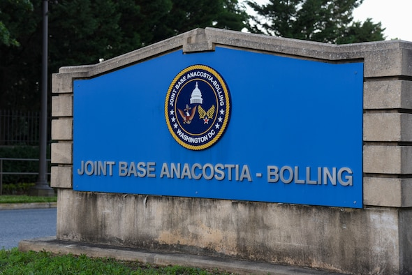 Sign at the entrance to Joint Base Anacostia-Bolling, Washington D.C., June 12, 2020.
