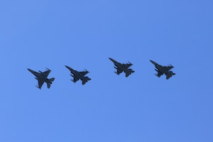 U.S. Air Force F-16 Fighting Falcons assigned to the 52nd Fighter Wing at Spangdahlem Air Base, Germany, fly in a formation during an Agile Combat Employment exercise over Büchel Air Base, Germany, June 25, 2020. Pilots from the 480th Fighter Squadron landed the F-16s at Büchel AB, where NATO partners aided in the exercise by refueling their jets. (Photo courtesy of Büchel Air Base Public Affairs)