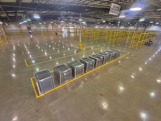 An empty warehouse.