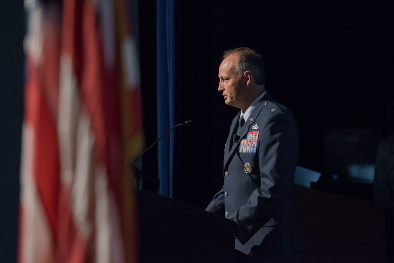 Col. Chad Hartman delivers his final remarks as the commander of the Air Force Technical Applications Center during his Change of Command ceremony June 30, 2020 at Patrick AFB, Fla.  Hartman commanded the nuclear treaty monitoring center since June 2018 and is transferring to The Netherlands to work for Allied Joint Force Command Brunssum as the chief of intelligence, surveillance and reconnaissance.  (U.S. Air Force photo by Joshua Conti)