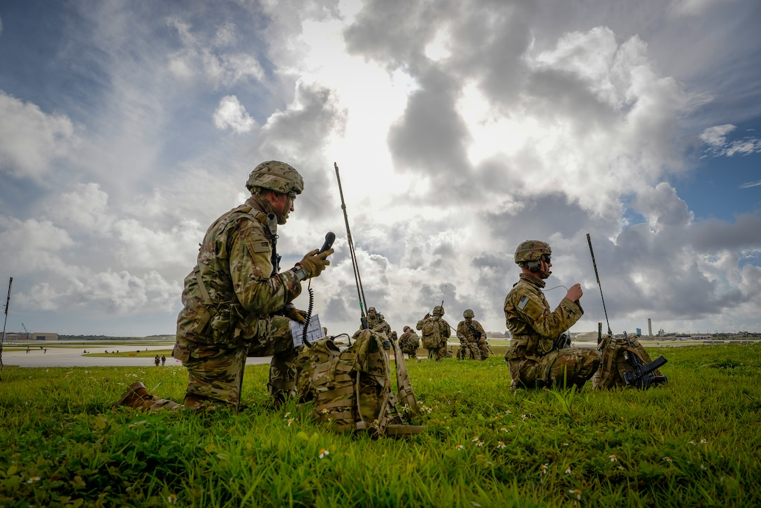Paratroopers assigned to the 4th Infantry Brigade Combat Team (Airborne), 25th Infantry Division, U.S. Army Alaska, conduct a Joint Forcible Entry Operation (JFEO) jump into Andersen Air Force Base, Guam, June 30.