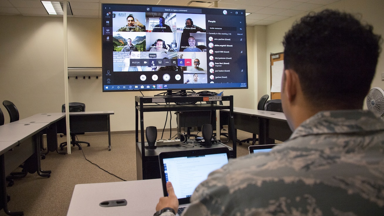 Sheppard NCOA instructor Tech. Sgt. Eric Partlow talks to a virtual class