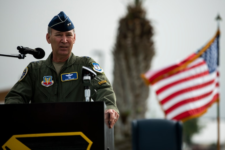 U.S. Air Force Maj. Gen. Chad Franks, Ninth Air Force commander, speaks during a change of command ceremony at Tyndall Air Force Base, Florida, June 26, 2020. Franks highlighted the wing's accomplishments under U.S. Air Force Col. Brian Laidlaw and expressed his confidence in U.S. Air Force Col. Greg Moseley as the new 325th Fighter Wing commander. (U.S. Air Force photo by Tech. Sgt. Clayton Lenhardt)