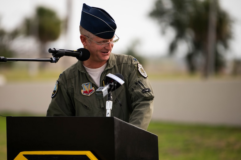 U.S. Air Force Col. Brian Laidlaw, 325th Fighter Wing commander, speaks during a change of command ceremony at Tyndall Air Force Base, Florida, June 26, 2020. Command of the 325th FW transferred from Laidlaw to U.S. Air Force Col. Greg Moseley. (U.S. Air Force photo by Tech. Sgt. Clayton Lenhardt)