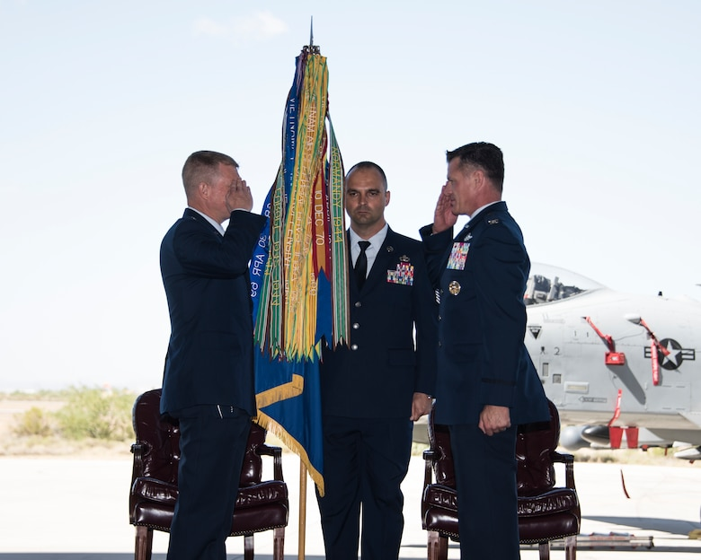A photo of Airmen during a change of command ceremony