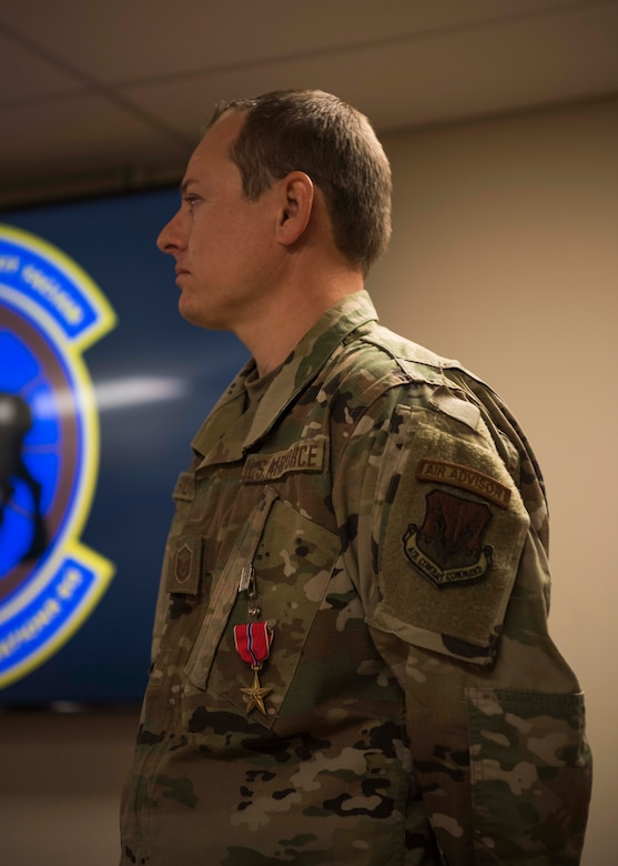 Master Sgt. Mark Hurd, 366th Healthcare Operations Squadron medical logistics flight chief, stands after receiving the Bronze Star, June 24, 2020, at Mountain Home Air Force Base, Idaho. Hurd received the medal for his achievement as surgeon general superintendent and senior enlisted medical advisor while in support of OPERATION FREEDOM SENTINEL from Jan. 1, 2019 to Nov. 1, 2019, at Forward Operating Base Oqab, Kabul, Afghanistan.