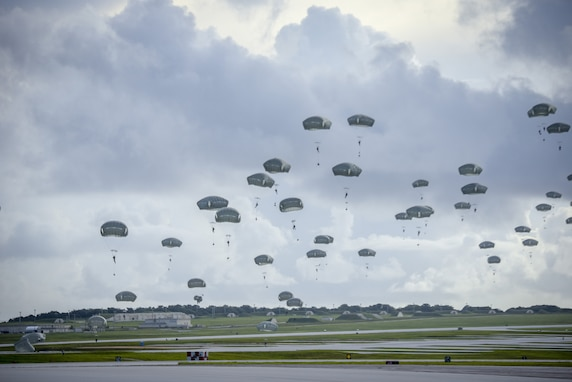 Army Airborne Task Force Descends into Guam
