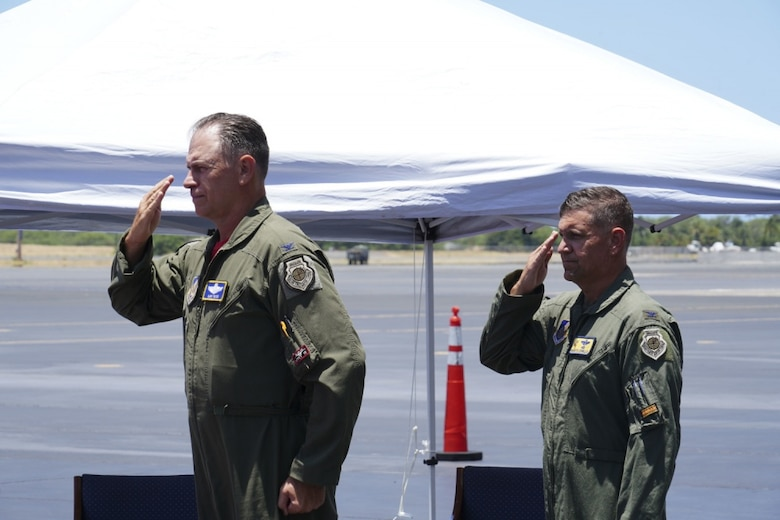Col. Geoffrey E. Lohmiller, 15th Wing vice commander, renders his final salute during his retirement ceremony at Joint Base Pearl Harbor-Hickam, Hawaii, June 26, 2020. Lohmiller, who served as the vice wing commander since May 2018, will retire later this year. (U.S. Air Force photo by Airman 1st Class Erin Baxter)