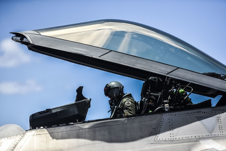 Col. Geoffrey E. Lohmiller, 15th Wing vice commander, exits an F-22 Hawaiian Raptors for the last time during his fini flight at Joint Base Pearl Harbor-Hickam, Hawaii, June 26, 2020. Lohmiller, who served as the vice wing commander since May 2018, will retire later this year. (U.S. Air Force photo by Tech. Sgt. Anthony Nelson Jr.)