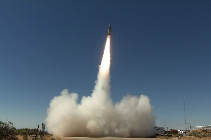 A ground-launched missile heads skyward.