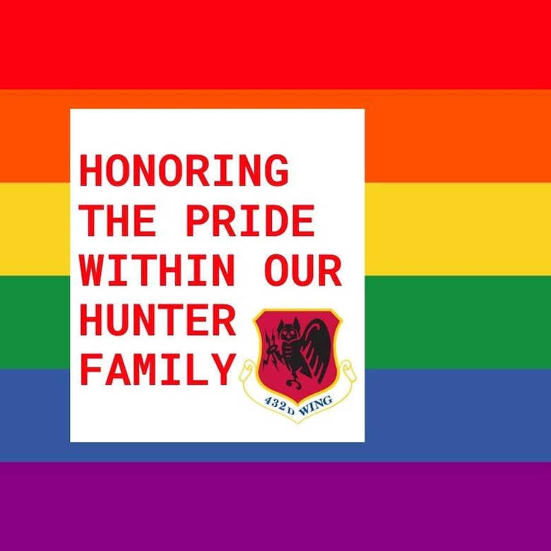LGBTQ+ Graphic with a rainbow flag in the background and a letters reading The Pride Within our Hunter Family