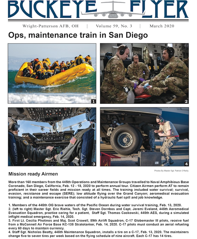 The March 2020 issue of the Buckeye Flyer is now available. The official publication of the 445th Airlift Wing includes eight pages of stories, photos and features pertaining to the 445th Airlift Wing, Air Force Reserve Command and the U.S. Air Force.
