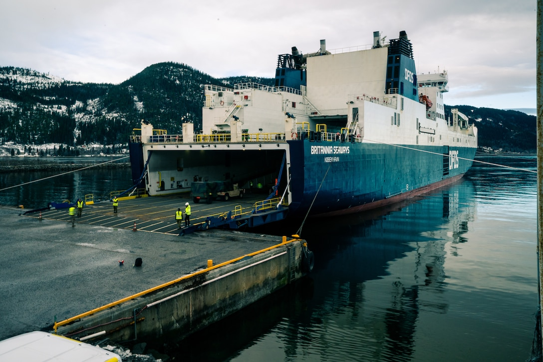 Equipment from the Tromsdal, Frigaard, and Bjugn caves is loaded onto a Britannia Seaways shipping vessel at Orkanger Port, Norway, Feb. 17, 2020. Marine Corps Prepositioning Program-Norway gear was transported from Orkanger Port to Bogen Port in preparation for Exercise Cold Response. Cold Response is a Norwegian-led exercise designed to enhance military capabilities and allied cooperation in high-intensity warfighting in a challenging arctic environment. (U.S. Marine Corps photo by Sgt. Devin J. Andrews)