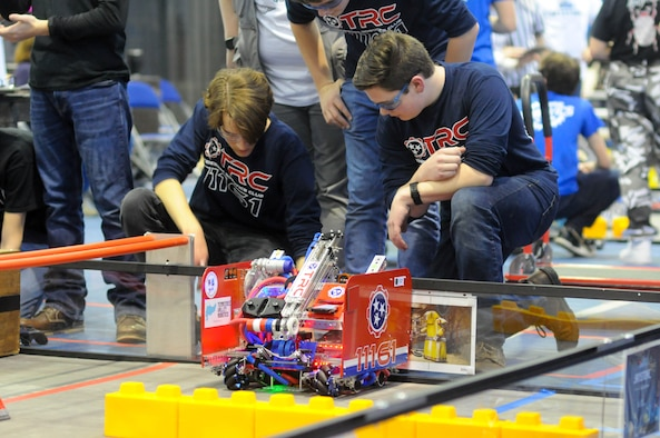 Team members with the Tennessee Robotics Club concentrate as they compete in a match at the Tennessee FIRST® Tech Challenge competition Feb. 8 at Middle Tennessee State University in Murfreesboro. Placing first in the Inspire Award category, the group will go on to compete at the national level in Houston, Texas, in April. (Courtesy photo)