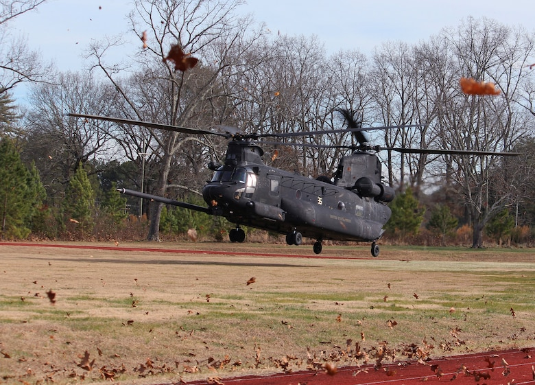A Boeing CH-47 Chinook lands at Arnold Air Force Base, Tenn., as part of a training exercise Dec. 20, 2019, for members of Arnold Fire and Emergency Services. During the training, the FES personnel learned about the equipment and various working parts of three different U.S. Army helicopters in the event the team is called to an emergency situation involving such aircraft. (U.S. Air Force photo by Deidre Moon)
