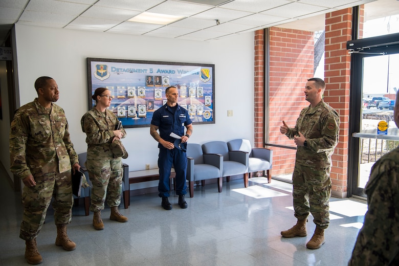 Tech. Sgt. James Nartowicz, 373rd Training Squadron Detachment 5 production supervisor, gives closing comments after a tour of his squadron at Joint Base Charleston, S.C., Feb. 27, 2020.