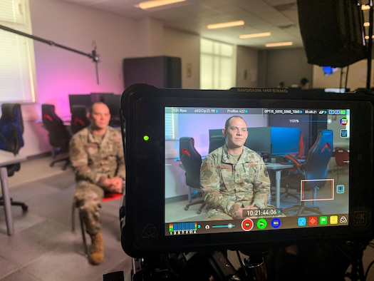 1st Lt. Thomas Van Dorple, a 223rd Cyberspace Operations Squadron flight chief, interviews for the Association of Defense Communities 2020 'Great American Defense Community' award Feb. 25, 2020, in Jacksonville, Ark.