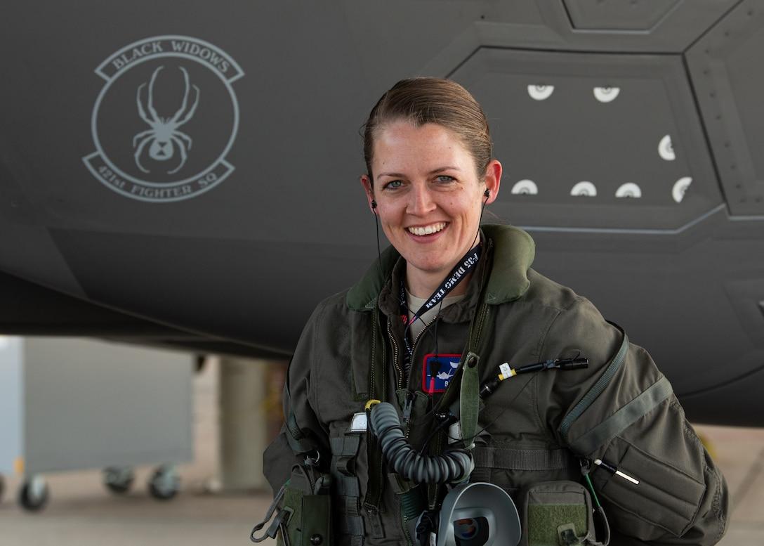 A photo of Capt. Kriten Wolfe, F-35A Demonstration Team pilot.