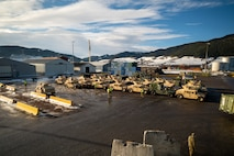 Equipment from the Tromsdal, Frigaard, and Bjugn caves waits to be loaded onto a Britannia Seaways shipping vessel at Orkanger Port, Feb. 17, 2020. Marine Corps Prepositioning Program-Norway gear was transported from Orkanger Port to Bogen Port in preparation for Exercise Cold Response. Cold Response is a Norwegian-led exercise designed to enhance military capabilities and allied cooperation in high-intensity warfighting in a challenging arctic environment. (U.S. Marine Corps photo by Sgt. Devin J. Andrews)