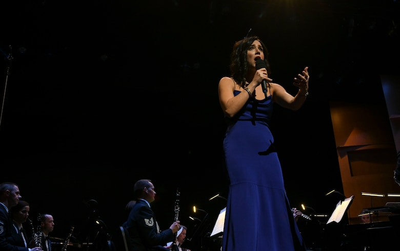 Samantha Massell, singer, sings during the U.S. Air Force Band's Guest Concert Series at the Rachel M. Schlesinger Concert Hall and Arts Center in Alexandria, Va., Feb. 20, 2020. Massell has a degree in both English and musical theatre from the University of Michigan. (U.S. Air Force photo by Airman 1st Class Spencer Slocum)