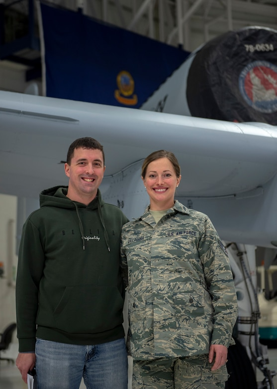 U.S. Air Force Staff Sgt. Mason Allen stands next to his sister, Staff Sgt. Camas Villafana, in front of an A-10 Thunderbolt II assigned to the 124th Fighter Wing, Idaho Air National Guard, at Gowen Field, Boise, Idaho, Feb. 20, 2020. Staff Sgt. Allen enlisted as a biomedical equipment specialist with the 124th Medical Group on Feb. 20, 2020. (U.S. Air National Guard photo by Ryan White)