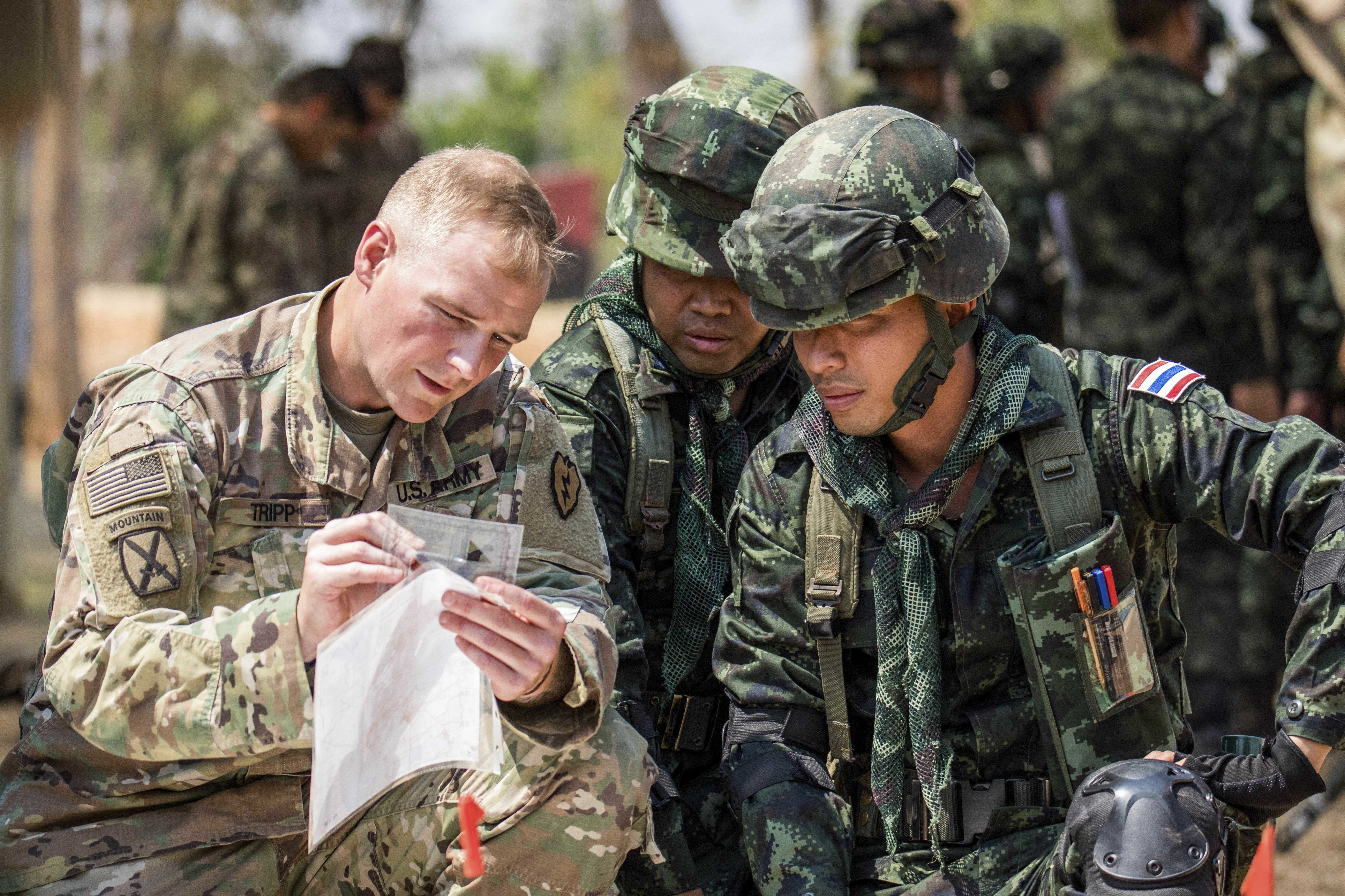 A U.S. soldier participates in a class on indirect fire with Thai counterparts in Nakhon Ratchasima, Thailand, Feb. 26, 2020, during Hanuman Guardian 20, an exercise to demonstrate commitment to the U.S.-Thailand alliance.