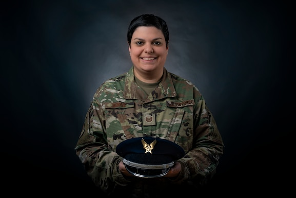 """Portrait of Tech. Sgt. Sarah Monroe, a Financial Management Craftsman assigned to the 130th Comptroller Flight. Monroe was selected as the monthly """"Charlie West Spotlight for the 130th Airlift Wing. (U.S. Air National Guard Photo by Staff Sgt. Caleb Vance)"""