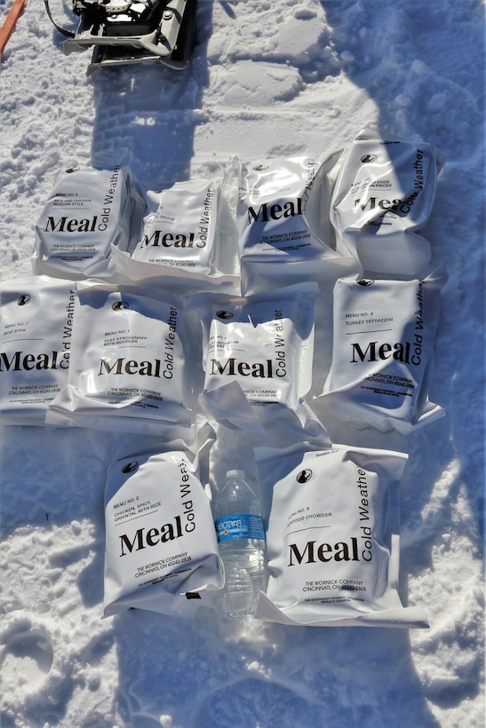 Cold weather meal rations on display.