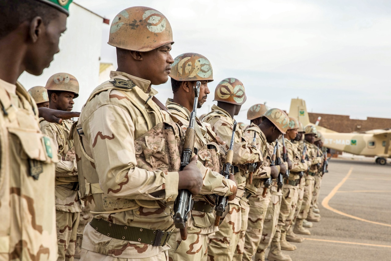 African soldiers in formation.