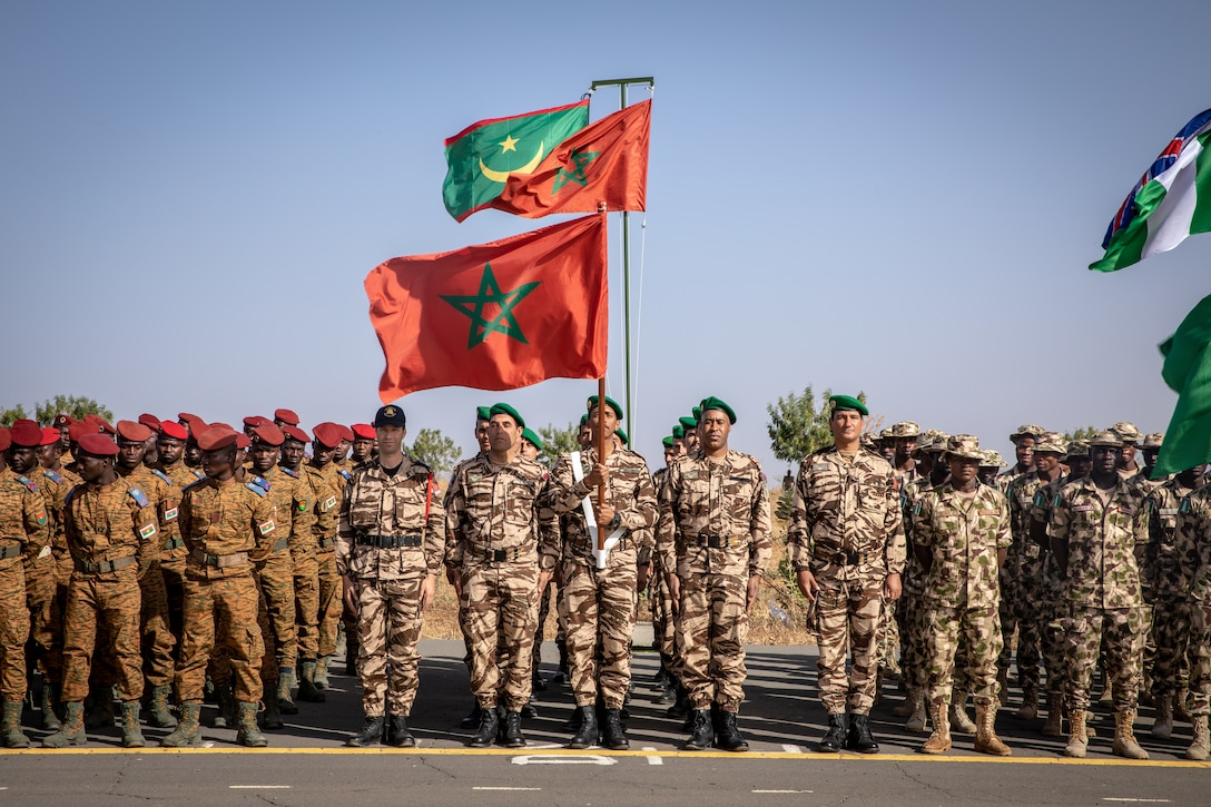African soldiers stand in formation.