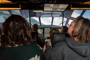 Group flying in aircraft simulator.