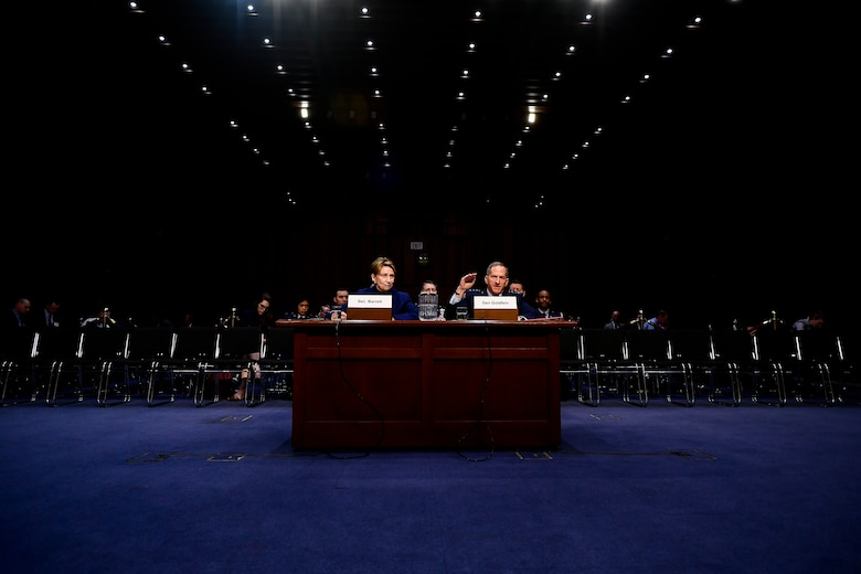 Air Force Secretary Barbara Barrett and Chief of Staff Gen. David L. Goldfein testify on the posture of the Air Force before the Senate Armed Services Committee at the Hart Senate Office Building in Washington, D.C., March 3, 2020. (U.S. Air Force photo by Eric Dietrich)