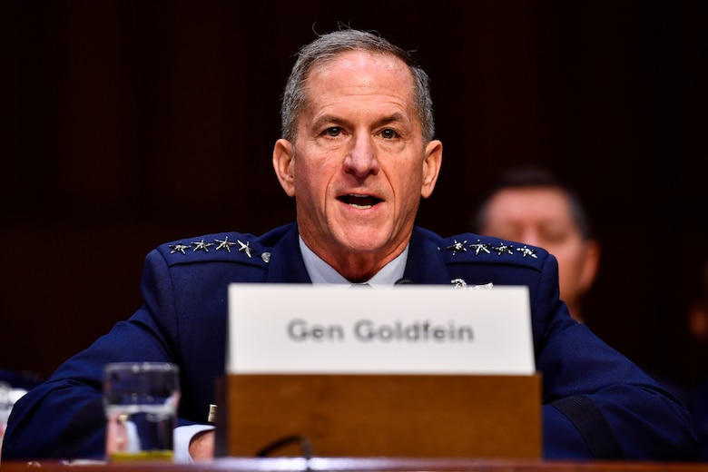 Air Force Chief of Staff Gen. David L. Goldfein testifies on the posture of the Air Force before the Senate Armed Services Committee at the Hart Senate Office Building in Washington, D.C., March 3, 2020. (U.S. Air Force photo by Eric Dietrich)