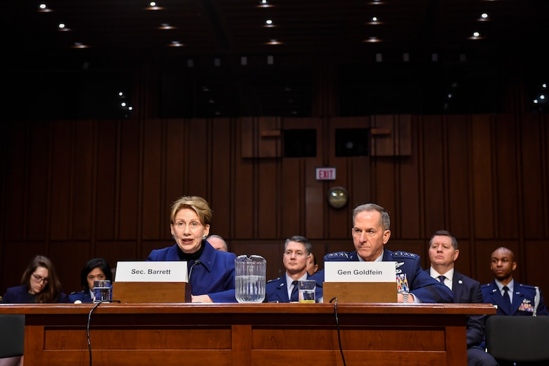 Air Force Secretary Barbara M. Barrett and Chief of Staff Gen. David L. Goldfein testify on the posture of the Air Force before the Senate Armed Services Committee at the Hart Senate Office Building in Washington, D.C., March 3, 2020. (U.S. Air Force photo by Wayne Clark)