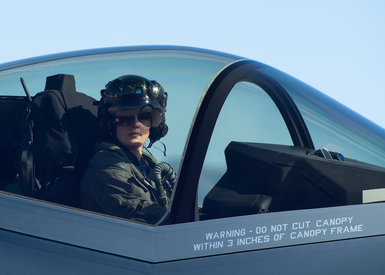 Capt. Wolfe prepares for a takeoff in an F-35A Lightning II.