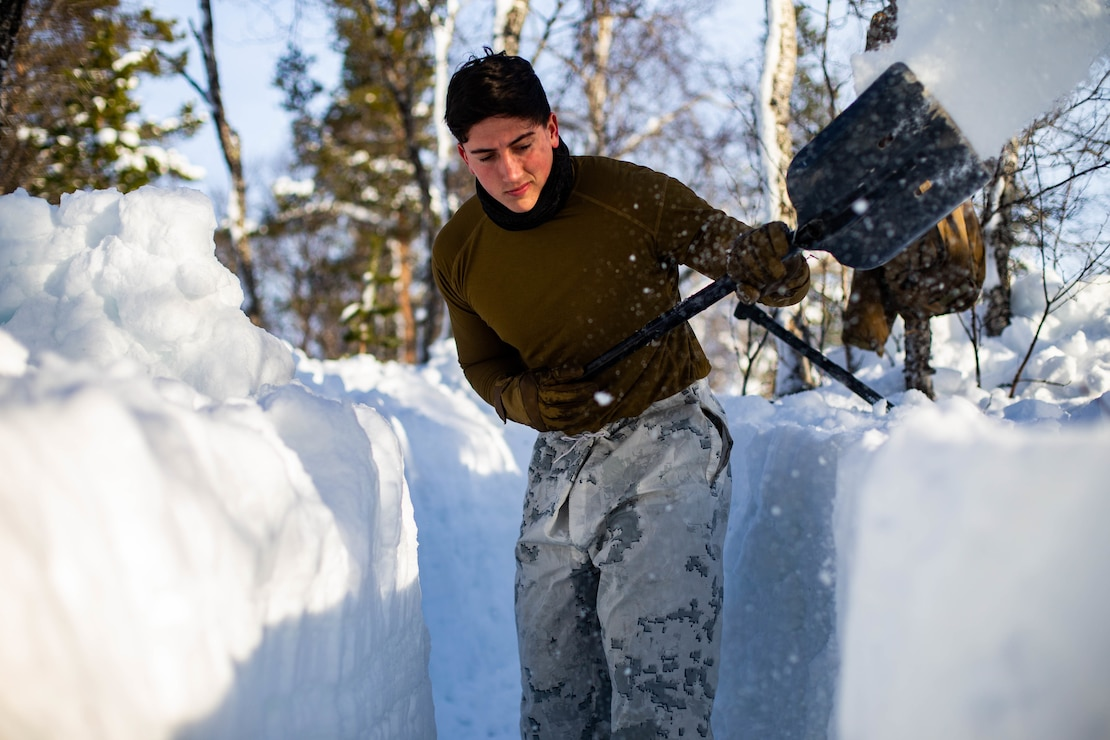 A U.S. Marine digs a fighting position during cold-weather training near Bjerkvik, Norway, Feb. 23.