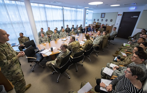 Members from the 52nd Medical Group and host-nation partners convened for a table-top exercise on the spread of COVID-19 (coronavirus) and their preventive and reactive actions at Spangdahlem Air Base, Germany, Feb. 26, 2020. COVID-19 is a novel respiratory virus that was first detected in Wuhan City which has since spread throughout many countries including China, South Korea, Japan, Iran, Italy, Hong Kong and Germany. (U.S. Air Force photo by Airman 1st Class Branden Rae)